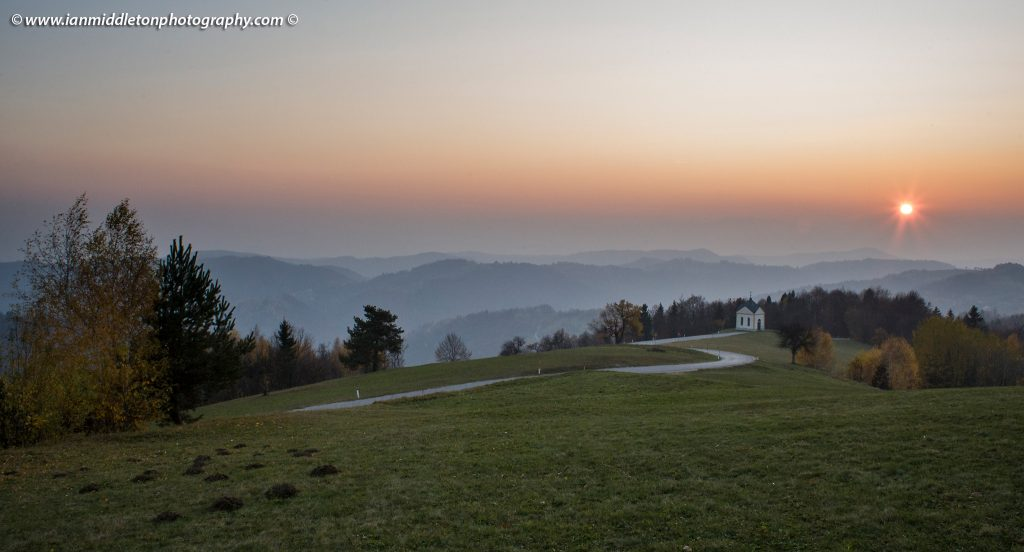 Autumn in the Jance hills to the east of Ljubljana, Slovenia. From here you get a great view of the western mountains.