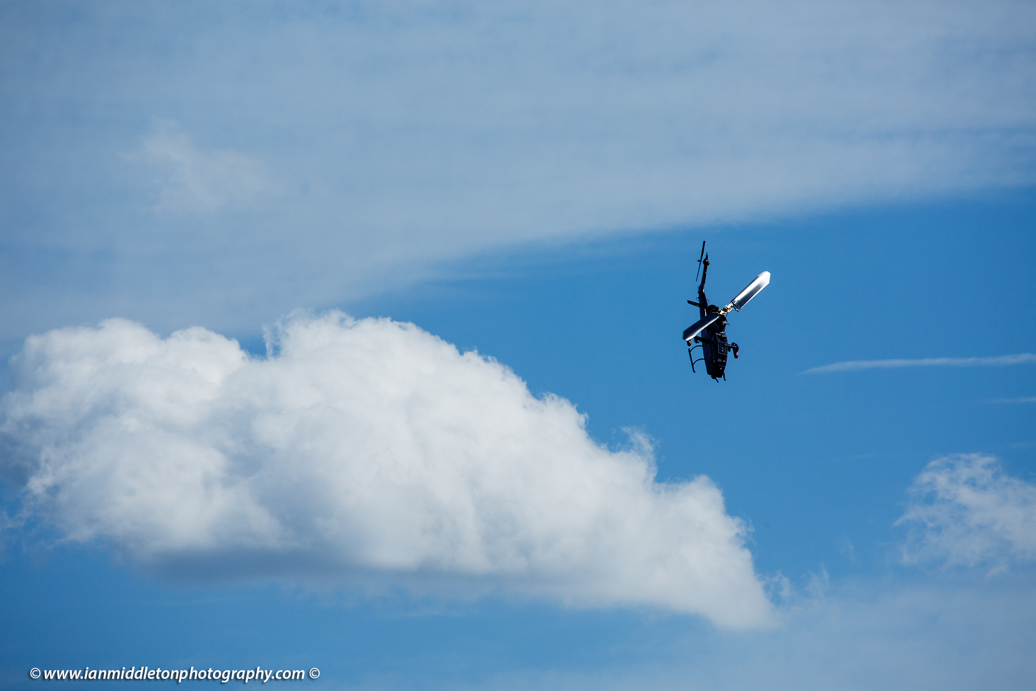 Helicopter acrobatics at the Red Bull open day at Maribor Edvard Rusjan Airport, Slovenia