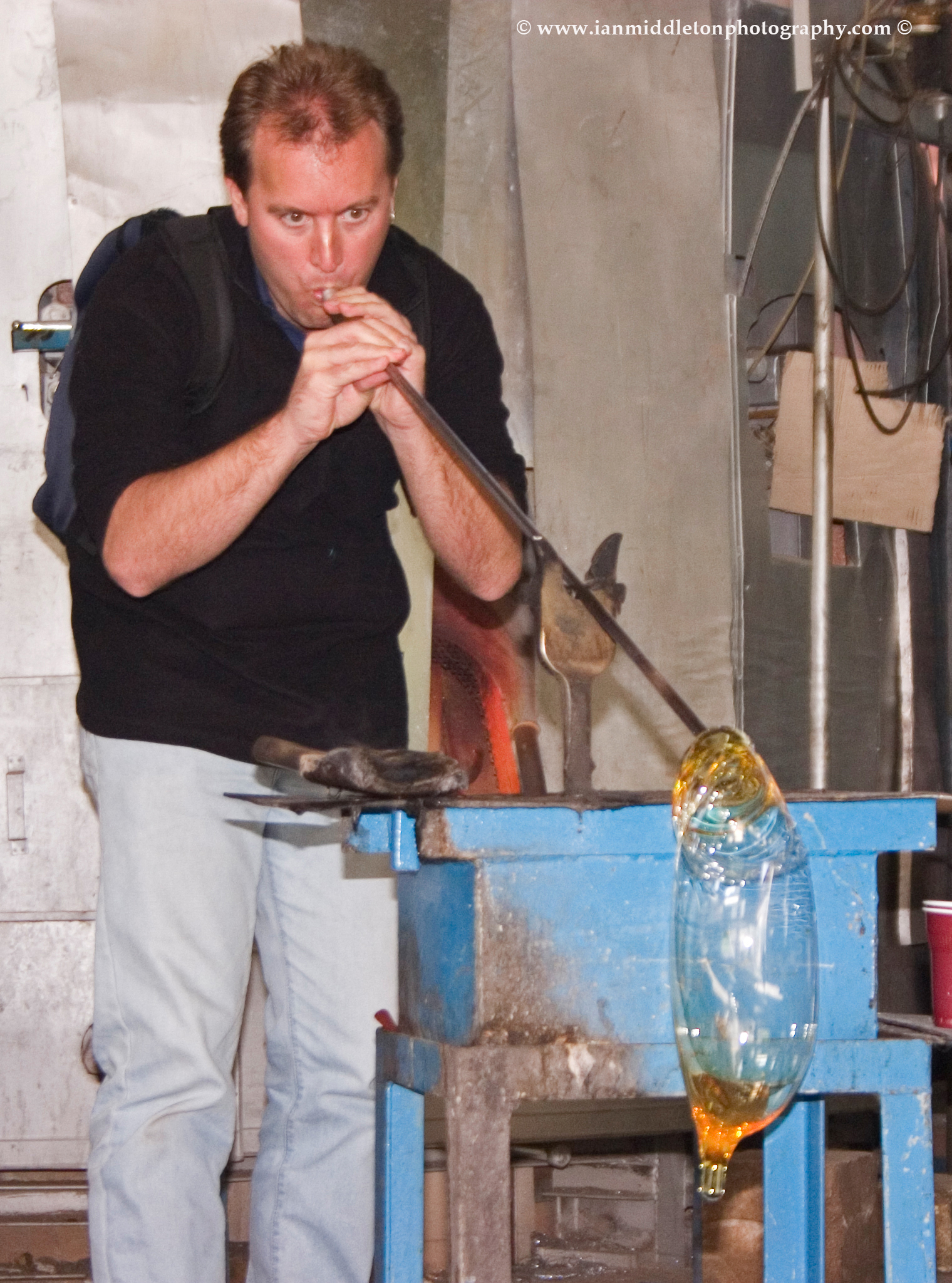 Glass blowing at Rogaska Crystal