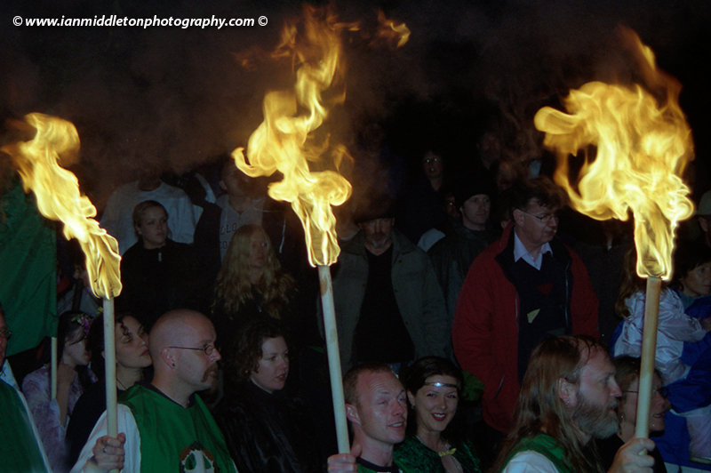 Celebration of fire at the summer solstice at the Hill of Tara, Ireland.