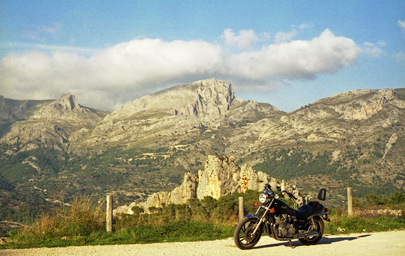 Riding a motorbike in Spain
