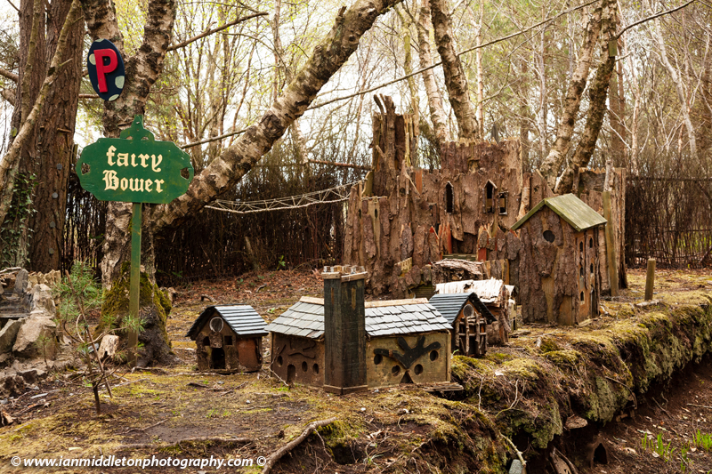 Fairy village at Lullymore Heritage Park, Lullymore, County Kildare, Ireland. The park is a great exhibition of the region's biodiversity, peat and boglands and woodlands.