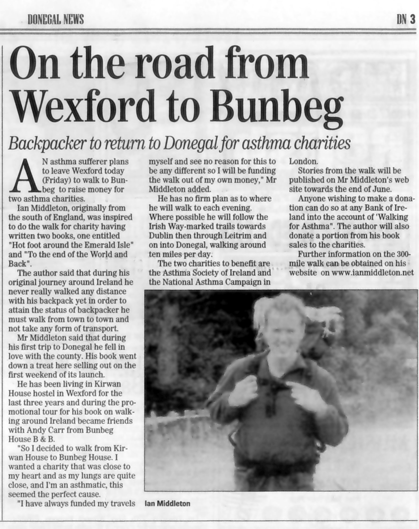 Article in the Donegal News about Ian Middleton's walk across Ireland for charity.
