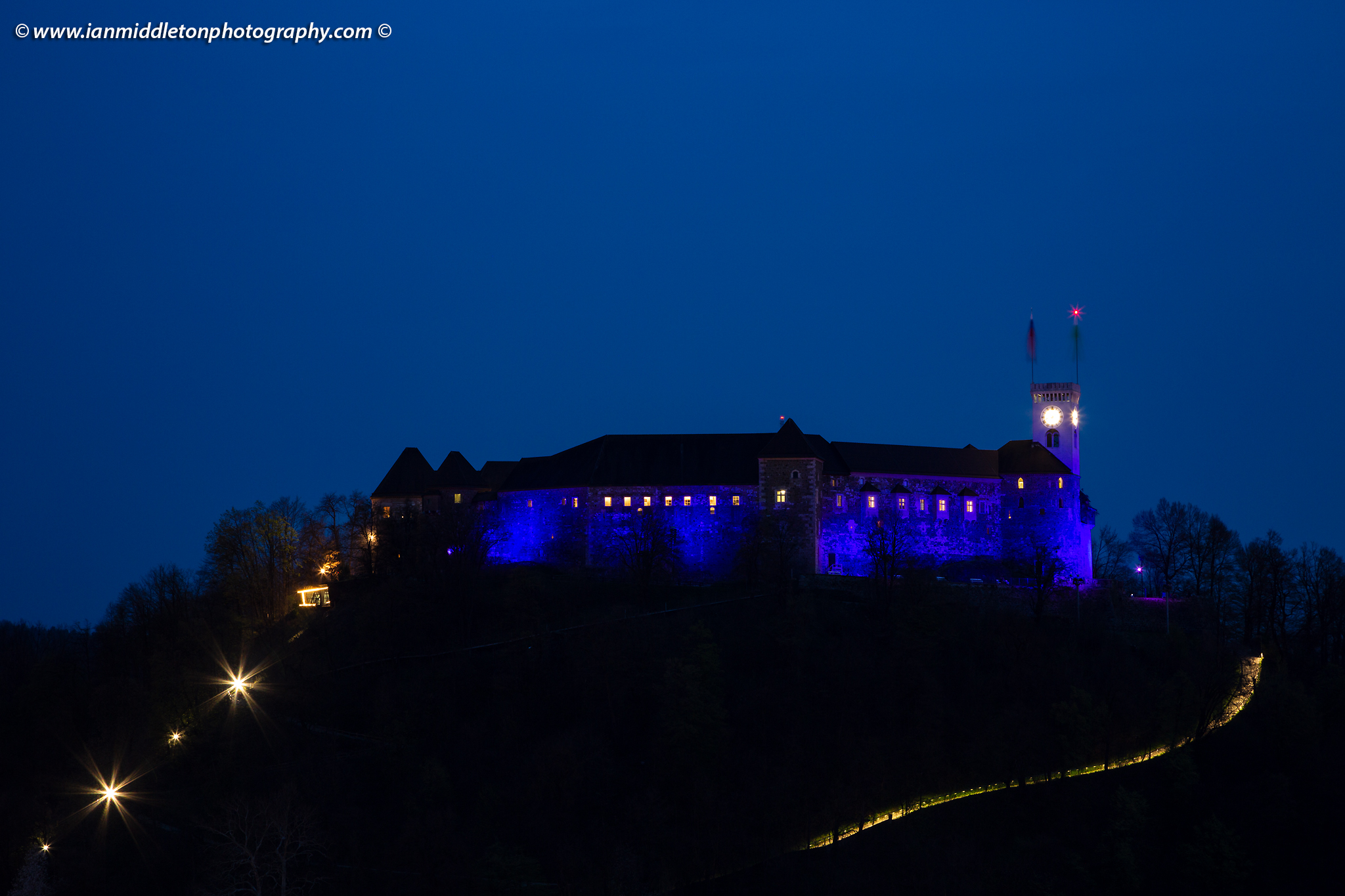 Ljubljana Castle lit up blue for Autism Awareness Day 2019 Slovenia
