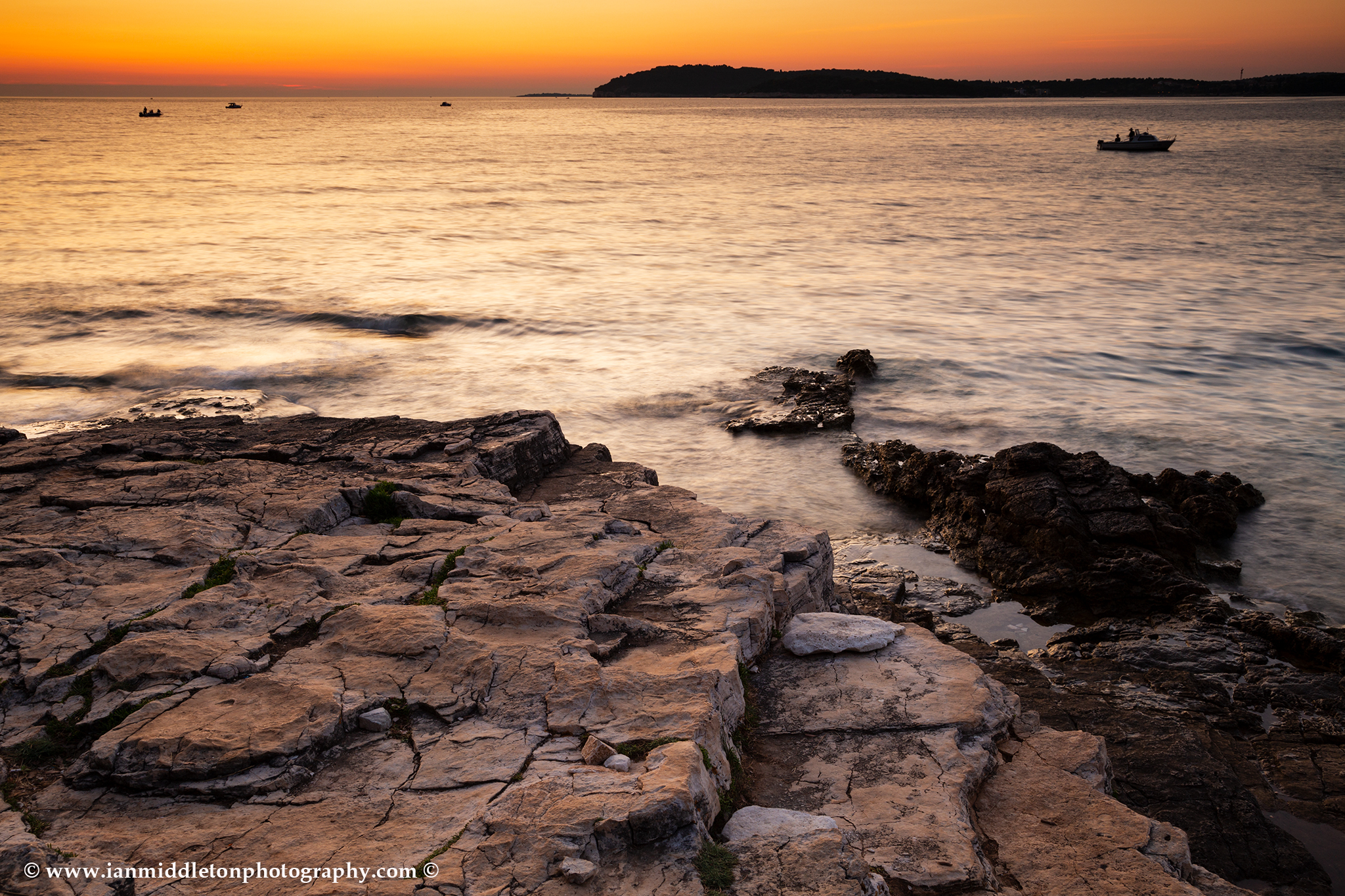 Verudela Beach, Pula, Croatia. The beautiful Istrian coastline at sunset.