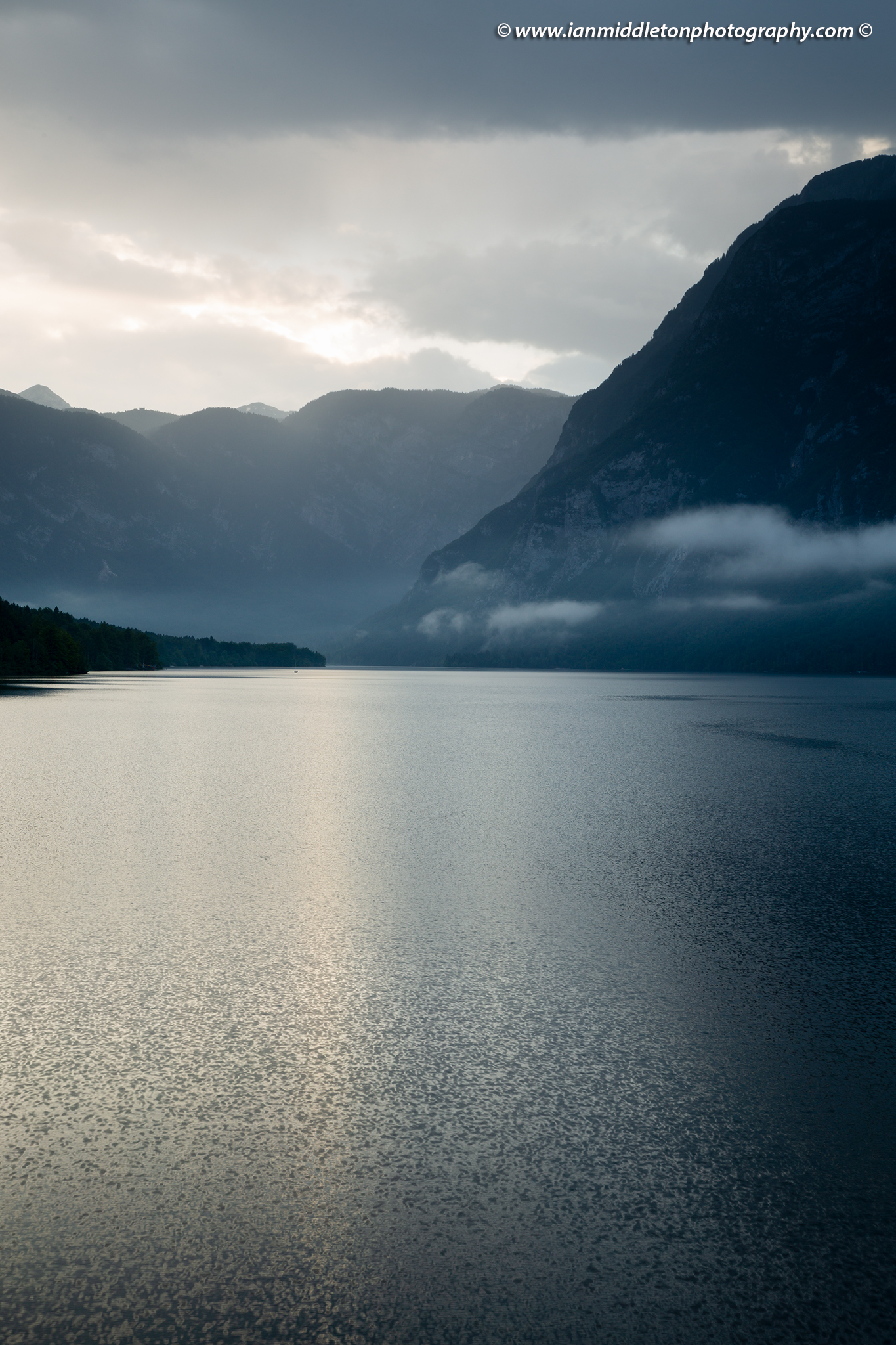 Rain over Lake Bohinj, Triglav National Park, Slovenia.