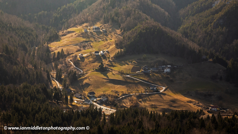View down from the church of Saint Jacob (Sveti Jakob) near Medvode, Slovenia. Situated on a hilltop in the Polhov Gradec Hill Range. This is also a popular hiking spot for locals.