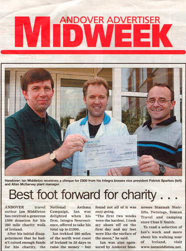 Article in Andover Advertiser about Ian Middleton's walk across Ireland for charity