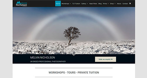 website design example - Melvin Nicholson Photography designed my Ian Middleton.