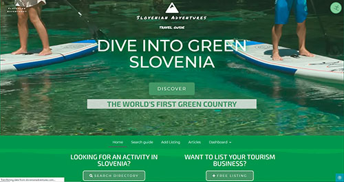 website design example - Slovenian Adventures by Ian Middleton